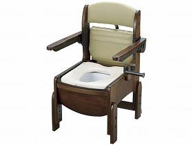 木製トイレ きらくコンパクト 肘掛跳上 普通便座