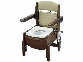 木製トイレ きらくコンパクト 肘掛跳上 暖房便座