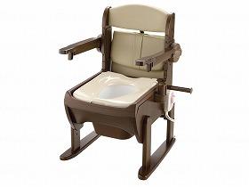 木製きらく片付け簡単トイレ 肘掛跳ね上げ 暖房便座