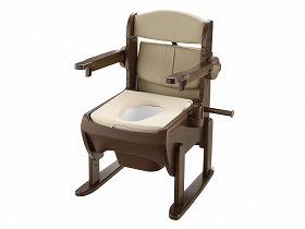 木製きらく片付け簡単トイレ 肘掛跳ね上げ  やわらか便座