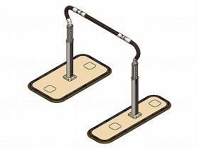 歩行サポート手すりスムーディ伸縮 両手すり ステップタイプ