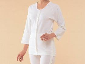 エジプト綿 前開き7分袖 婦人用