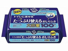 Tトイレに流せるタップリ使えるおしりふき 100枚