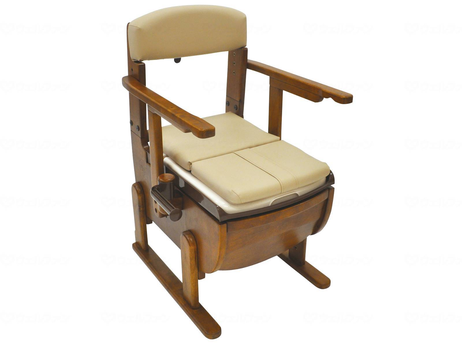 家具調ポータブルトイレ スリムレットEX 肘掛固定 ソフト便座