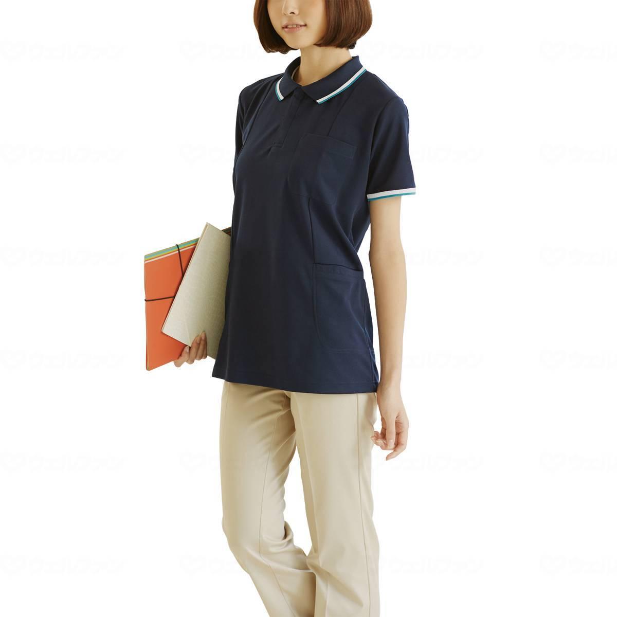 WHISEL 半袖ロングポロシャツ WH90338の画像