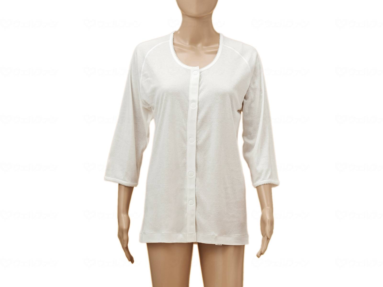 ひば前開き7分袖(ラグラン袖)婦人用の画像